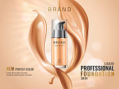 Luxury liquid foundation ads. Glass transparent bottle with liquid creamy texture isolated on glitter bokeh background. Elegant splash of tonal fluid. Vector 3d illustration.