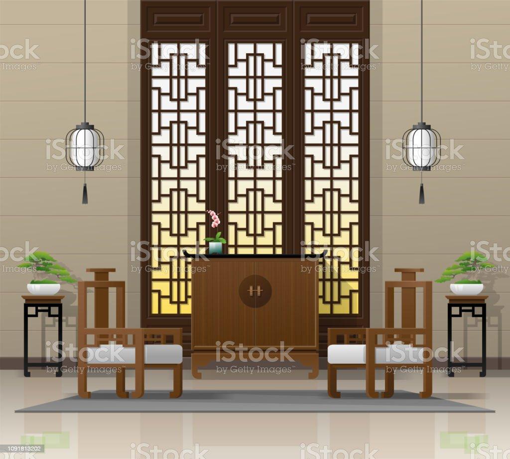 Interieur De Luxe Appartement luxe woonkamer interieur achtergrond met meubels in chinese