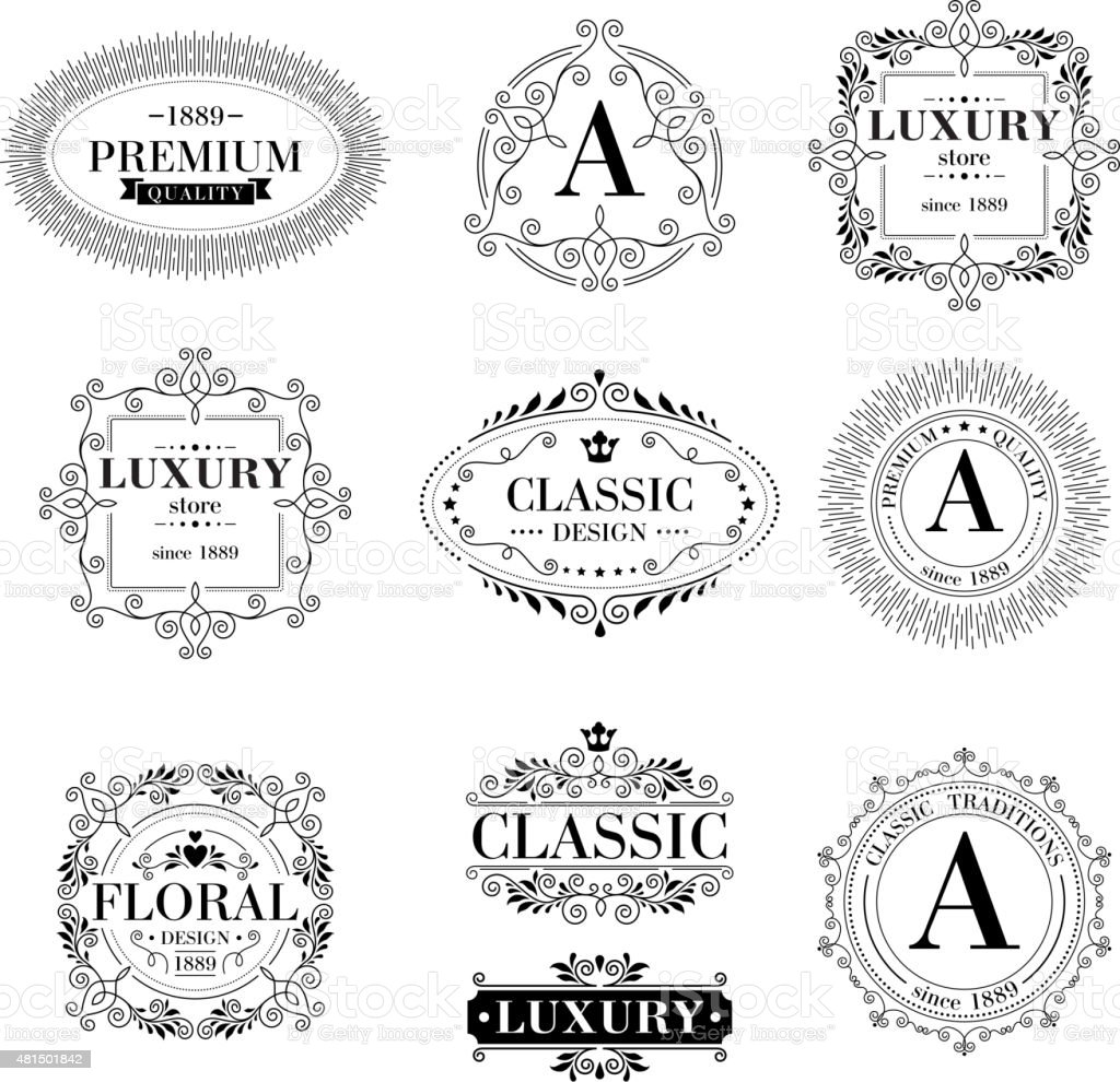 luxury logo template ornament labels set stock vector art more