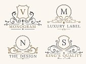Luxury Logo Template. Shield Business Sign for Signboard. Monogram Identity for Restaurant, Hotels, Boutique, Cafe, Shop, Jewelry, Fashion. Flourishes Vector Calligraphic Ornament Elements