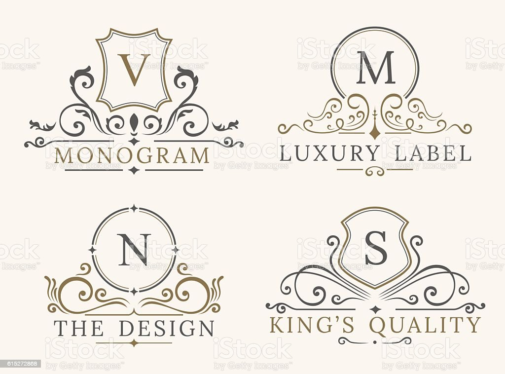 Luxury Logo Template. Shield Business Sign for Signboard. Monogram Identity - Illustration vectorielle