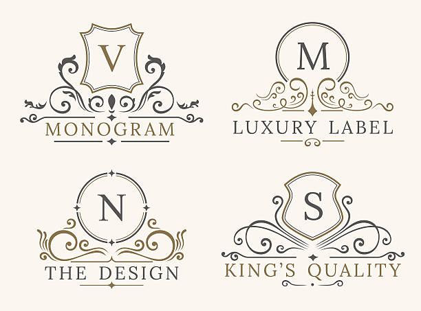 ilustraciones, imágenes clip art, dibujos animados e iconos de stock de luxury logo template. shield business sign for signboard. monogram identity - diseños de bodas