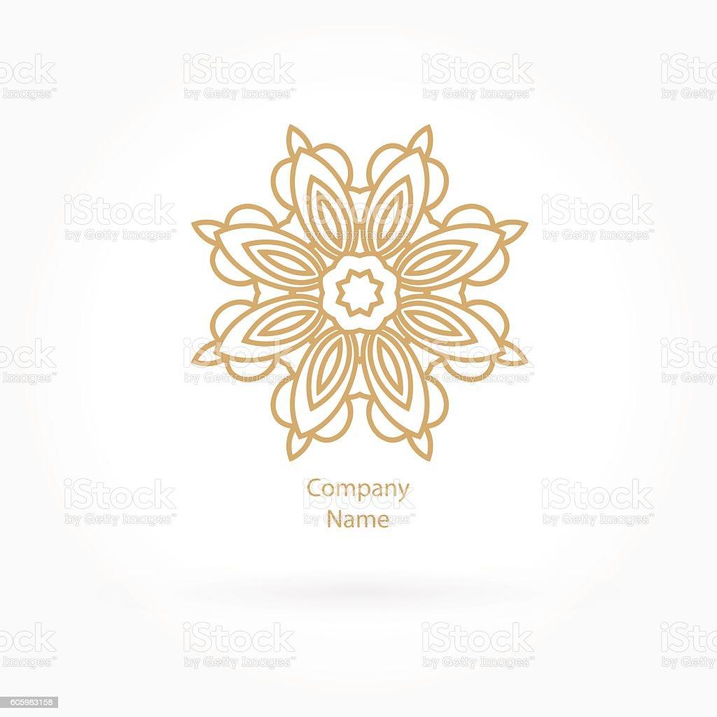 Luxury logotype for antique boutique. Gold logo, flower. Vintage bud. vector art illustration