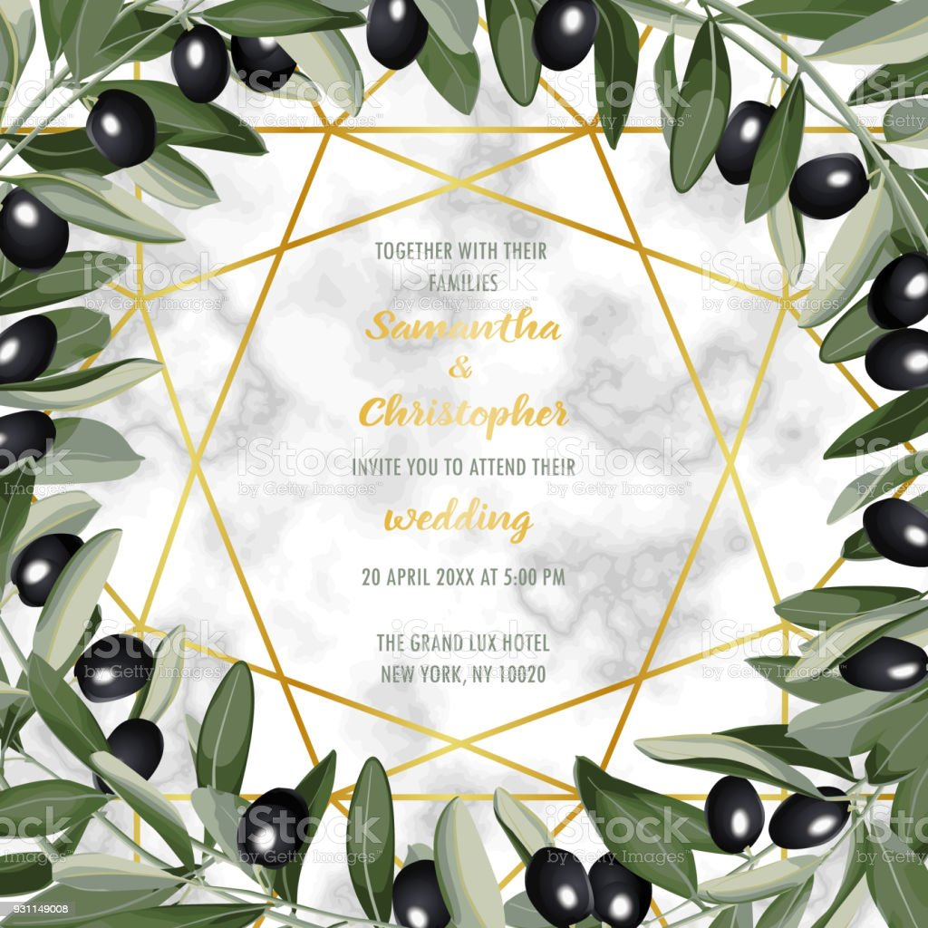 Luxus aus marmor hochzeit einladungskarte mit olive brunch lizenzfreies luxus aus marmor hochzeit einladungskarte mit