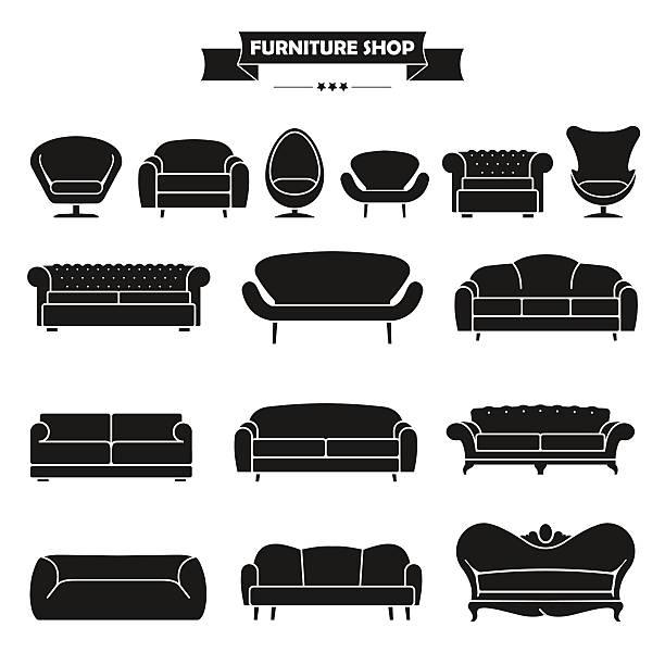 luxuriöse moderne sofa und couch icons set. - couch stock-grafiken, -clipart, -cartoons und -symbole