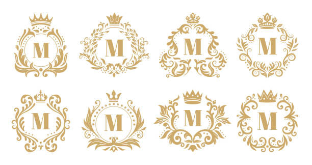 bildbanksillustrationer, clip art samt tecknat material och ikoner med lyxig monogram. vintage krona logo typ, gyllene prydnads monogram och heraldisk krans prydnad vektor uppsättning - lyxig monogram