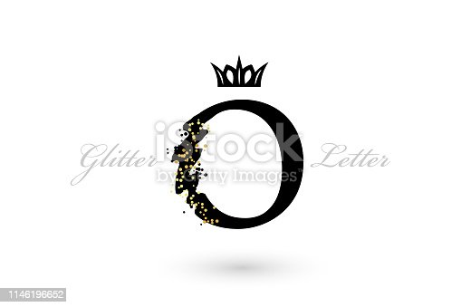 Luxury O letter emblem. Vector symbol with character element and golden dotted decoration