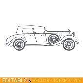 Luxury old car. Editable vector icon in linear style.