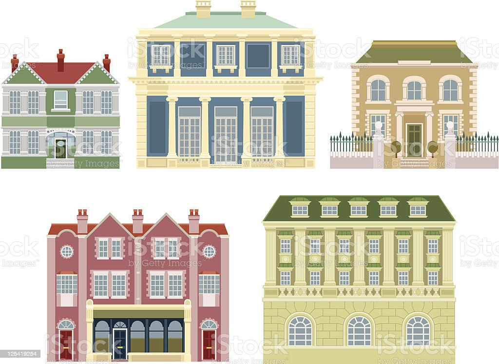 Luxury old fashioned houses buildings vector art illustration