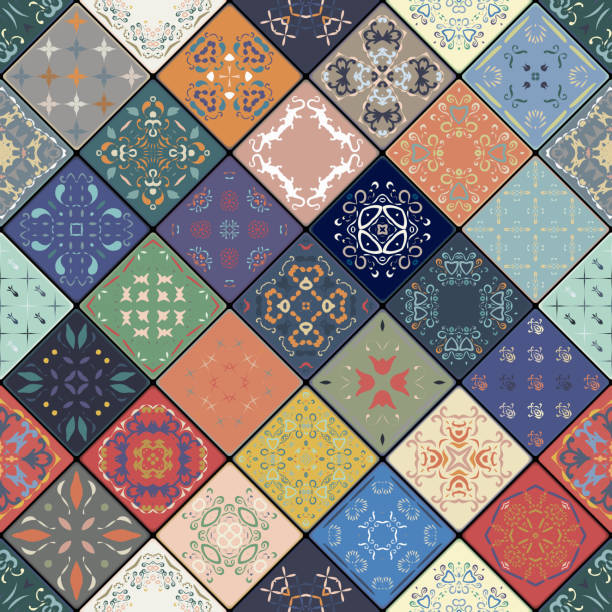 luxury oriental tile seamless pattern. - tile pattern stock illustrations, clip art, cartoons, & icons