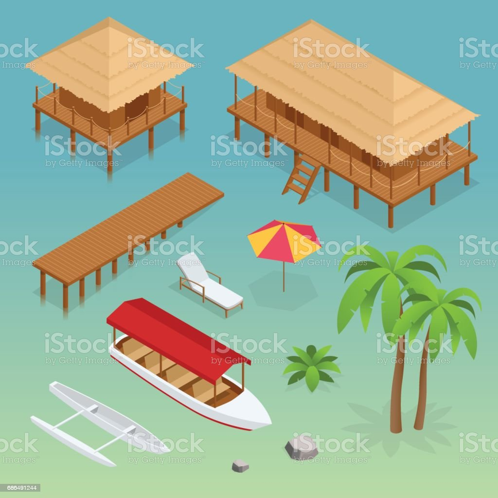 Luxury overwater thatched roof bungalow, bridge, palm tree, pleasure boat, kayak, beach lounger and sun umbrella. Tropical vacations. Isometric vector illustration vector art illustration