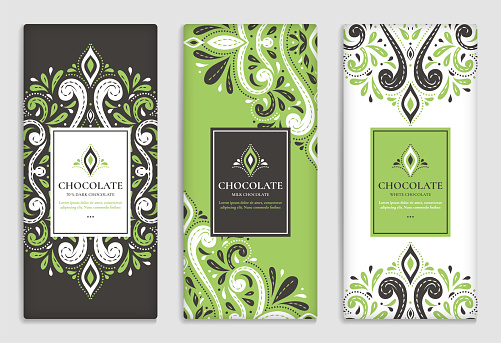 Luxury packaging design of chocolate bars. Vintage vector ornament template.
