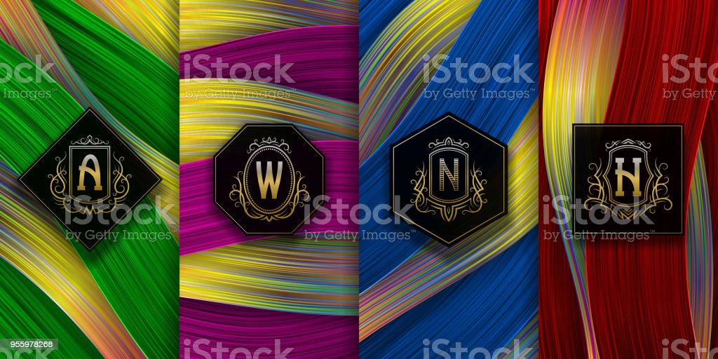 luxury packaging design with golden monograms set of colored