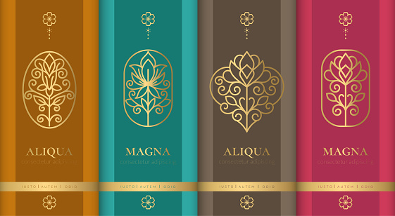 Luxury packaging with floral emblem design. Vintage vector ornament template. Elegant logo, classic elements. Great for food, drink and other package types. Can be used for background and wallpaper.