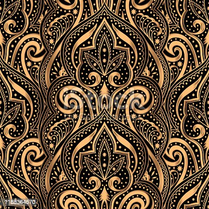 istock Luxury pattern vector seamless. Arabic mandala paisley royal background. Victorian design 1188364570