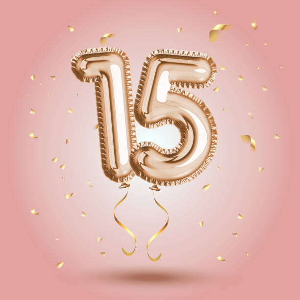 luxury pink greeting celebration fifteen years birthday anniversary number 15 foil gold balloon. happy birthday, congratulations poster.   golden numbers with sparkling golden confetti - happy holidays stock illustrations