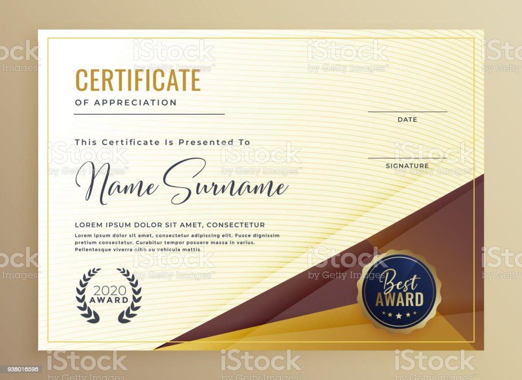 Luxury Premium Certificate Design Template Stock Vector Art More