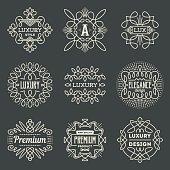 Luxury Premium Insignias Retro Design Logotypes Template Set.