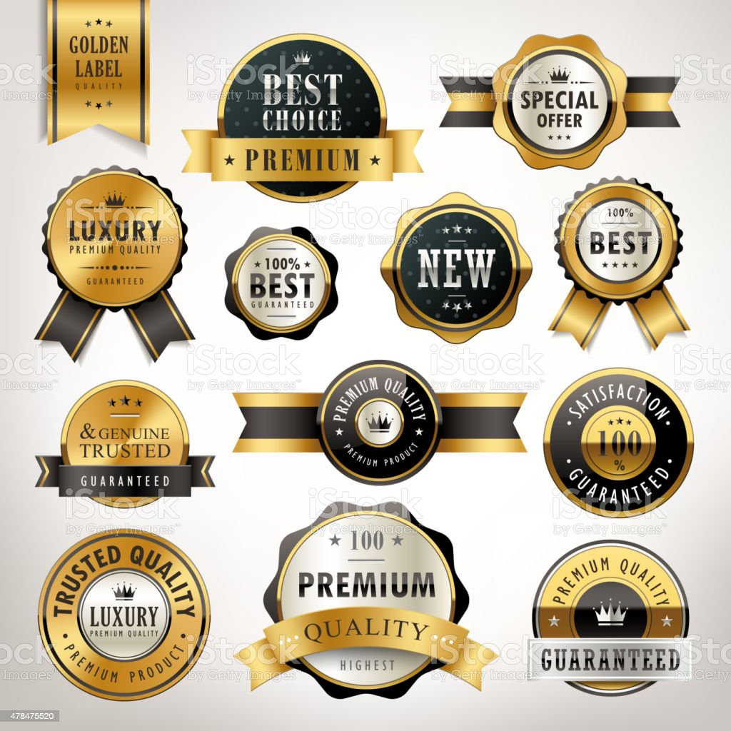 luxury premium quality golden labels collection vector art illustration