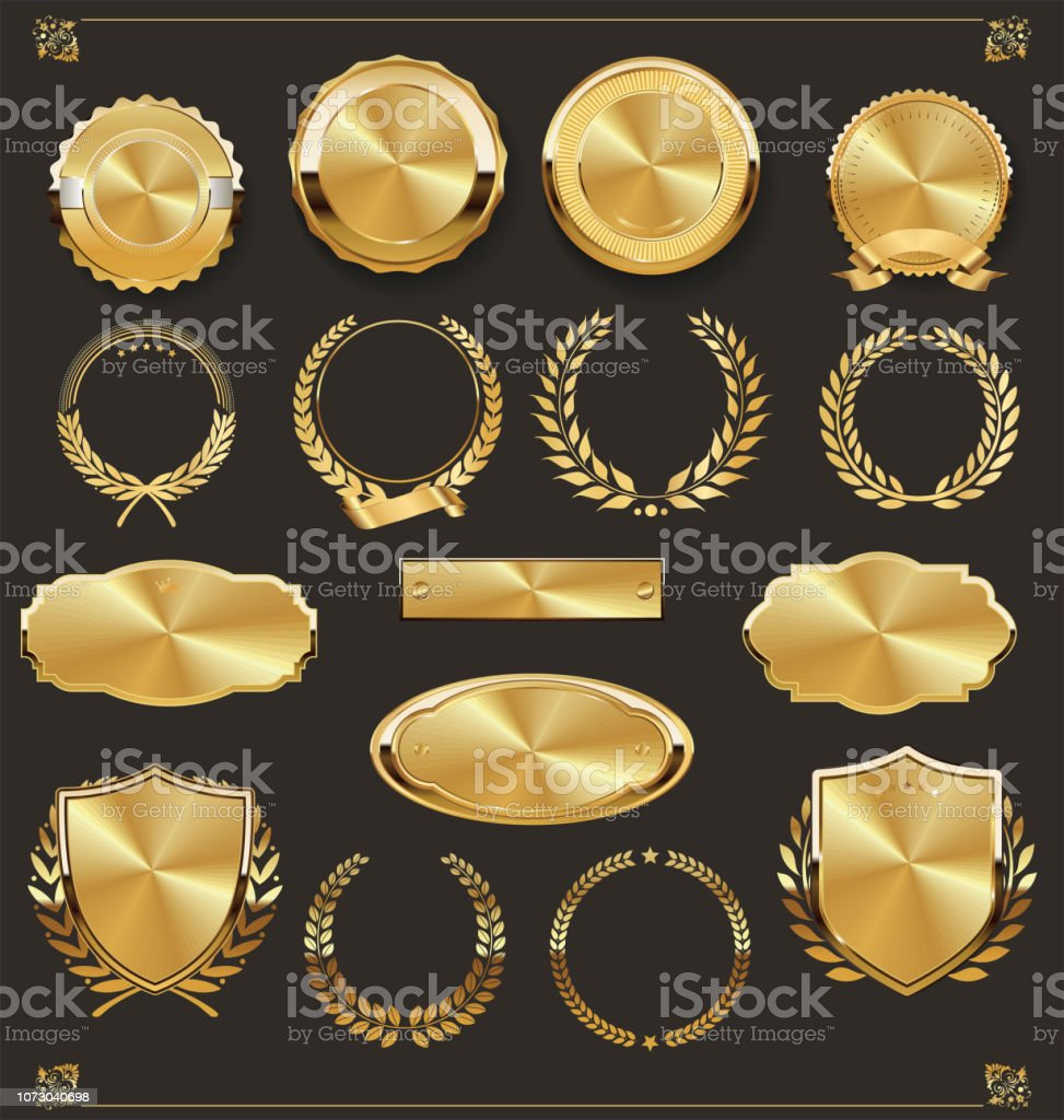高級レトロ バッジ金と銀のコレクション ロイヤリティフリー高級レトロ バッジ金と銀のコレクション - アイコンのベクターアート素材や画像を多数ご用意