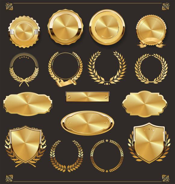 luksusowe odznaki retro złota i srebra - insygnia stock illustrations