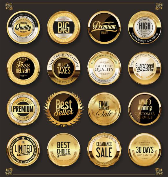 illustrazioni stock, clip art, cartoni animati e icone di tendenza di luxury retro badges gold and silver collection - sigillo timbro
