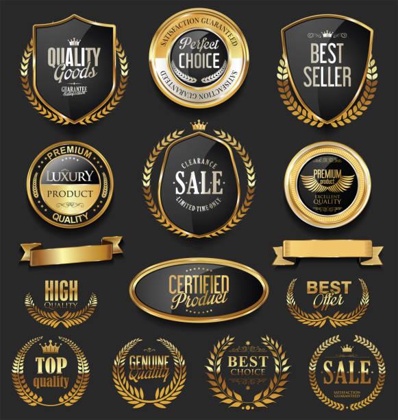 高級レトロ バッジ金と銀のコレクション - メダル点のイラスト素材/クリップアート素材/マンガ素材/アイコン素材