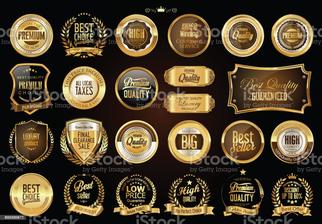 Luxury retro badges gold and silver collection vector art illustration
