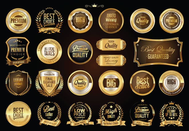 Luxe retro badges goud en zilver collectie​​vectorkunst illustratie