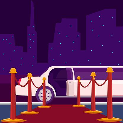 Luxury ride limousine with opened door on empty red carpet