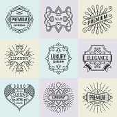Luxury Royal Insignias Retro Design Symbols Template. Line Art Vector Vintage Style Elements. Elegant Geometric Shiny Frames.