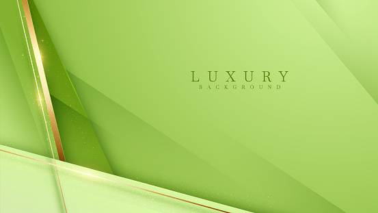 Luxury scene green color pastel. Golden curve lines sparkle with free space for paste promotional text. Elegant paper cut style background.