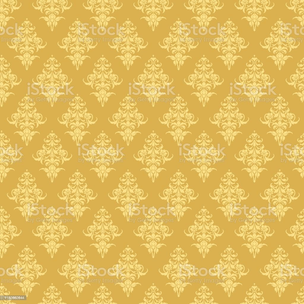 Luxury Seamless Golden Floral Wallpaper Vector Pattern For Design