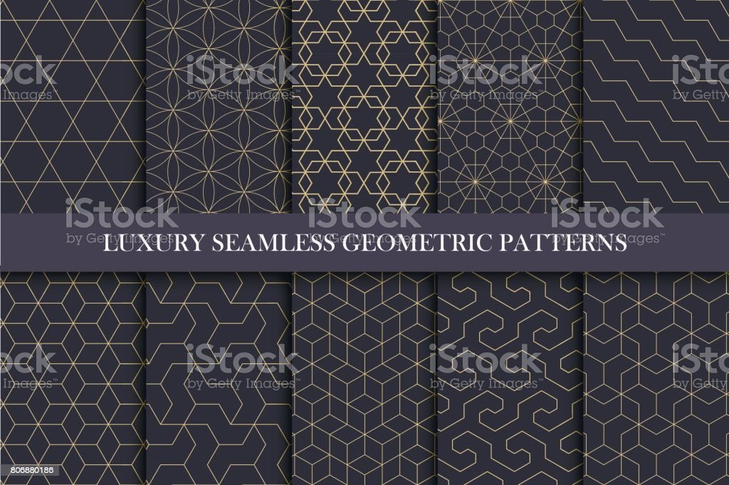 Luxury seamless ornamental patterns - geometric rich design. - ilustração de arte vetorial