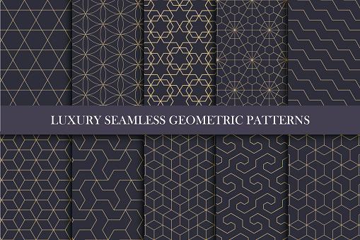 豪華無縫的觀賞模式 豐富的幾何設計向量圖形及更多一組物體圖片