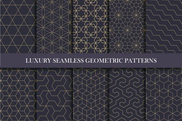 illustrazioni stock, clip art, cartoni animati e icone di tendenza di luxury seamless ornamental patterns - geometric rich design. - sfondo retrò e vintage