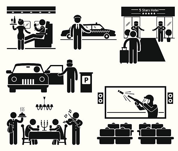Luxury Services First Class Business VIP Stick Figure Pictogram Icons A set of human pictogram representing luxury services such as business class flight seat, limousine taxi, 5 stars hotel, parking attendance, expensive dining, and VIP seat in cinema. one man only stock illustrations