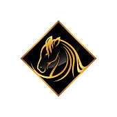 Luxury square head horse icon illustration vector with color gold and black. Luxury design for your business brand. Vector illustration EPS.8 EPS.10
