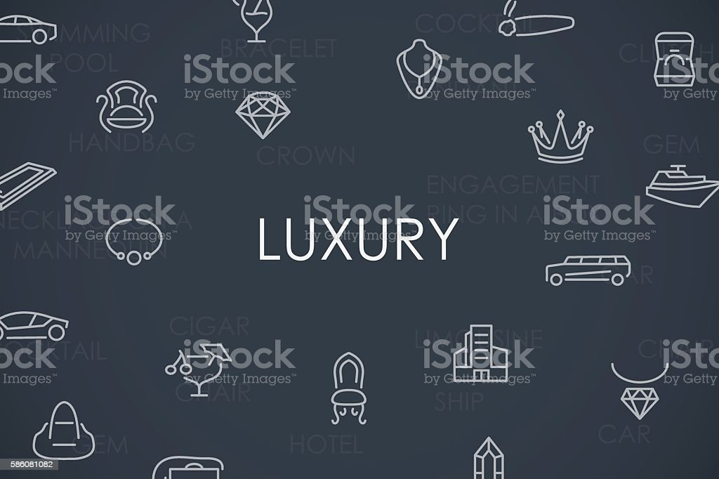 Luxury Thin Line Icons vector art illustration