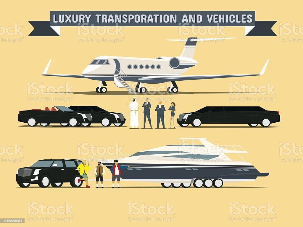 Luxury Transportation and Vehicles vector art illustration