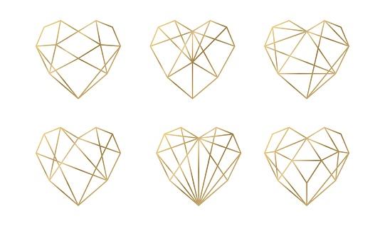 Luxury vector collection of polygonal hearts. Vector set.