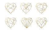 Luxury vector collection of polygonal hearts. Vector set.
