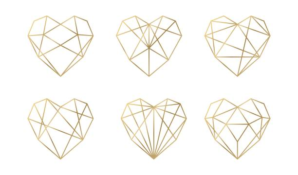luxury vector collection of polygonal hearts. vector set. - heart stock illustrations