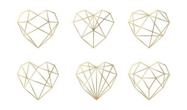 vektor luxuskollektion von polygonalen herzen. vektor-set. - heart stock-grafiken, -clipart, -cartoons und -symbole