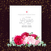 Luxury vector design square card with golden round glitter dark background. Burgundy red peony, dahlia, hydrangea, eucalyptus leaves. All elements are isolated and editable.