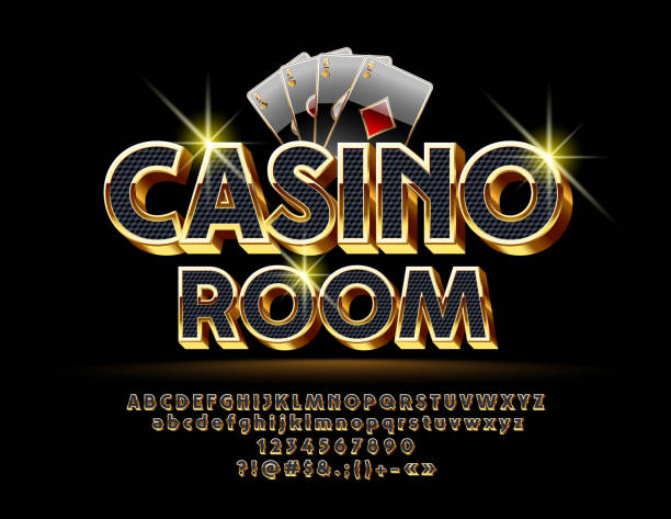 Luxury Vector Logotype for Casino with Royal Alphabet Set of Black and Gold Letters, Numbers and Symbols poker stock illustrations