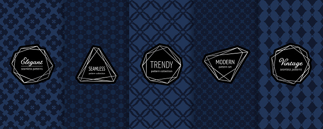 Luxury vector seamless pattern collection. Set of dark geometric backgrounds