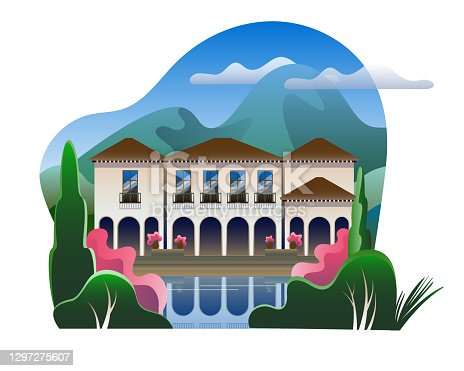 istock Luxury villa with a swimming pool on the background of a mountain landscape. 1297275607