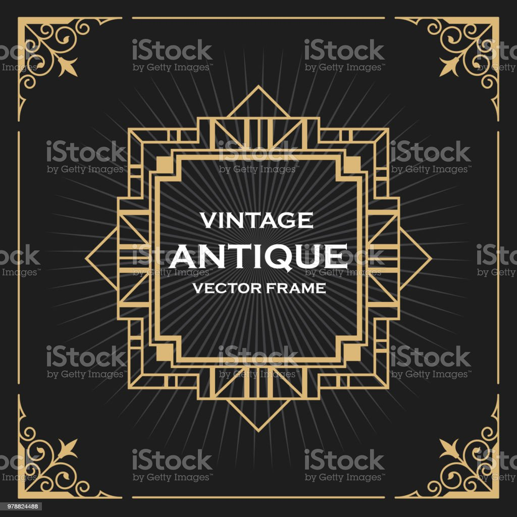 Luxe Vintage Artdeco Frame Design Vectorillustratie Stockvectorkunst