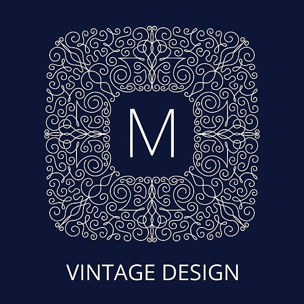 illustrations, cliparts, dessins animés et icônes de monture bleu vintage de luxe à monogramme - enluminure bordure